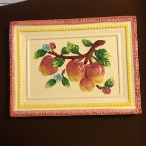 Ceramic wall decor, tree branch with apples.